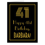 "[ Thumbnail: 41st Birthday: Art Deco Inspired Look ""41"" + Name Card ]"
