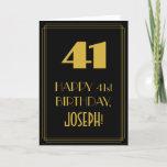 "[ Thumbnail: 41st Birthday ~ Art Deco Inspired Look ""41"" & Name Card ]"
