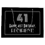 "[ Thumbnail: 41st Birthday — Art Deco Inspired Look ""41"" & Name Gift Bag ]"