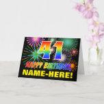 [ Thumbnail: 41st Birthday: Bold, Fun, Fireworks, Rainbow 41 Card ]