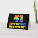 [ Thumbnail: 41st Birthday: Bold, Fun, Simple, Rainbow 41 Card ]