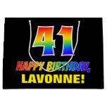 [ Thumbnail: 41st Birthday: Bold, Fun, Simple, Rainbow 41 Gift Bag ]