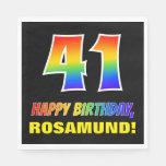 [ Thumbnail: 41st Birthday: Bold, Fun, Simple, Rainbow 41 Napkins ]