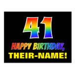 [ Thumbnail: 41st Birthday: Bold, Fun, Simple, Rainbow 41 Postcard ]