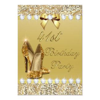 41st Birthday Classy Gold Heels Sequins Diamonds Card