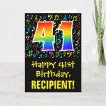 [ Thumbnail: 41st Birthday: Colorful Music Symbols + Rainbow 41 Card ]