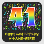 [ Thumbnail: 41st Birthday: Colorful Music Symbols, Rainbow 41 Sticker ]