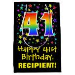 [ Thumbnail: 41st Birthday: Colorful Stars Pattern & Rainbow 41 Gift Bag ]