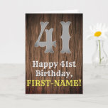 [ Thumbnail: 41st Birthday: Country Western Inspired Look, Name Card ]