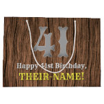 [ Thumbnail: 41st Birthday: Country Western Inspired Look, Name Gift Bag ]