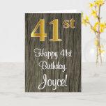 [ Thumbnail: 41st Birthday: Elegant Faux Gold Look #, Faux Wood Card ]