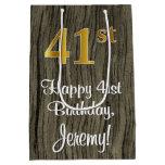 [ Thumbnail: 41st Birthday: Elegant Faux Gold Look #, Faux Wood Gift Bag ]