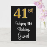 [ Thumbnail: 41st Birthday ~ Elegant Luxurious Faux Gold Look # Card ]