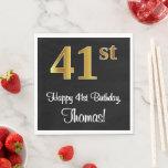 [ Thumbnail: 41st Birthday ~ Elegant Luxurious Faux Gold Look # Napkins ]