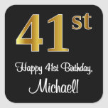 [ Thumbnail: 41st Birthday – Elegant Luxurious Faux Gold Look # Sticker ]