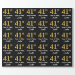 [ Thumbnail: 41st Birthday: Elegant Luxurious Faux Gold Look # Wrapping Paper ]