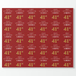[ Thumbnail: 41st Birthday: Elegant, Red, Faux Gold Look Wrapping Paper ]