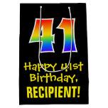 "[ Thumbnail: 41st Birthday: Fun, Bold, Colorful, Rainbow ""41"" Gift Bag ]"