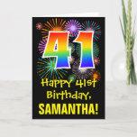 [ Thumbnail: 41st Birthday: Fun Fireworks Pattern + Rainbow 41 Card ]
