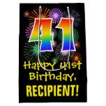 [ Thumbnail: 41st Birthday: Fun Fireworks Pattern + Rainbow 41 Gift Bag ]