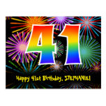 [ Thumbnail: 41st Birthday – Fun Fireworks Pattern + Rainbow 41 Postcard ]