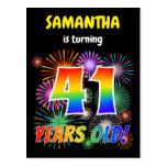 "[ Thumbnail: 41st Birthday - Fun Fireworks, Rainbow Look ""41"" Postcard ]"
