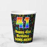 [ Thumbnail: 41st Birthday: Fun Music Notes Pattern, Rainbow 41 ]