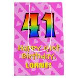 [ Thumbnail: 41st Birthday: Fun Pink Hearts Stripes; Rainbow 41 Gift Bag ]