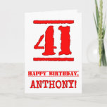 [ Thumbnail: 41st Birthday: Fun, Red Rubber Stamp Inspired Look Card ]