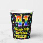 [ Thumbnail: 41st Birthday: Fun Stars Pattern and Rainbow 41 ]