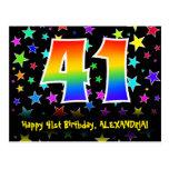 [ Thumbnail: 41st Birthday: Fun Stars Pattern, Rainbow 41, Name Postcard ]