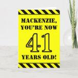 [ Thumbnail: 41st Birthday: Fun Stencil Style Text, Custom Name Card ]