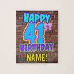 [ Thumbnail: 41st Birthday ~ Fun, Urban Graffiti Inspired Look Jigsaw Puzzle ]