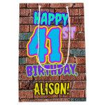 [ Thumbnail: 41st Birthday: Fun, Urban Graffiti Inspired Look Gift Bag ]