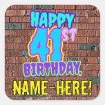 [ Thumbnail: 41st Birthday – Fun, Urban Graffiti Inspired Look Sticker ]