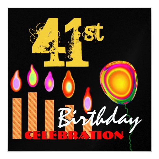 41st Birthday Gold Candles and Balloon Metallic 5.25x5.25 Square Paper Invitation Card