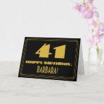 "[ Thumbnail: 41st Birthday: Name + Art Deco Inspired Look ""41"" Card ]"