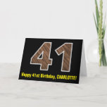 "[ Thumbnail: 41st Birthday: Name + Faux Wood Grain Pattern ""41"" Card ]"