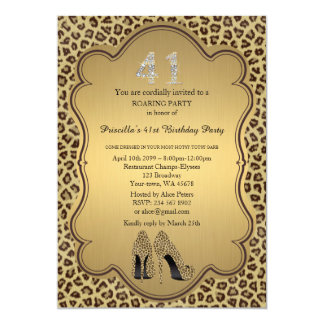 41st,Birthday Party 41st,Cheetah High Heels Shoes Card