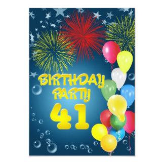 41st Birthday party Invitation with balloons