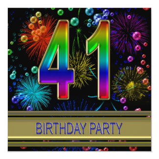 41st Birthday party Invitation with bubbles