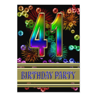 "41st Birthday party Invitation with bubbles 5"" X 7"" Invitation Card"