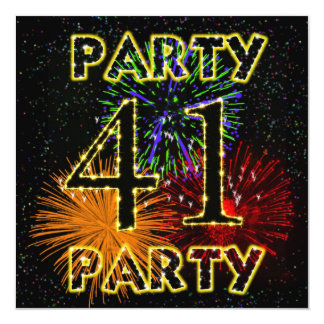 41st birthday party invitation with fireworks