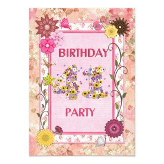 41st birthday party invitation with floral frame