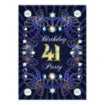 41st birthday party invite with masses of jewels