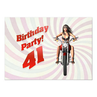 41st birthday party with a girl on a motorbike card