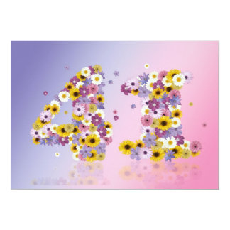 41st Birthday party, with flowered letters Card