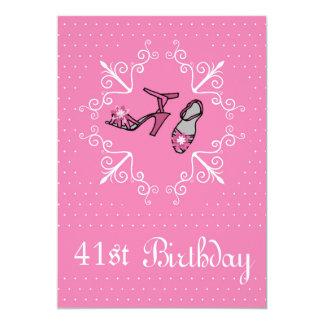 41st Birthday, Pink Shoes, Invitation
