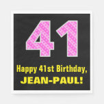 "[ Thumbnail: 41st Birthday: Pink Stripes and Hearts ""41"" + Name Napkins ]"