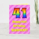 [ Thumbnail: 41st Birthday: Pink Stripes & Hearts, Rainbow # 41 Card ]